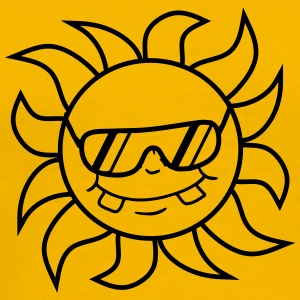 logo cool sunglasses summer black sun face T-Shirts - Men's Premium T-Shirt