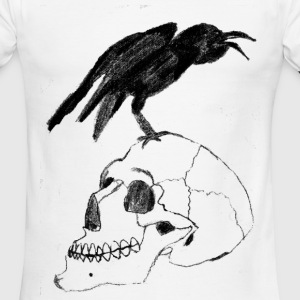 Raven on a skull - Men's Ringer T-Shirt