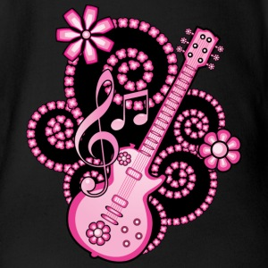 Girlie Pink Guitar - Short Sleeve Baby Bodysuit