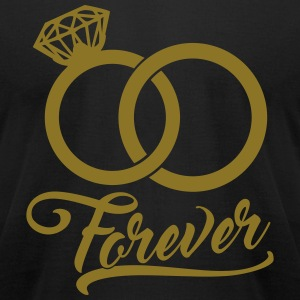 forever wedding rings T-Shirts - Men's T-Shirt by American Apparel