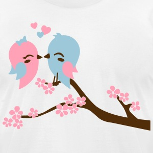 kissing birds T-Shirts - Men's T-Shirt by American Apparel