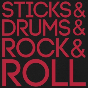 Sticks Drums Rock + Roll T-Shirts - Men's V-Neck T-Shirt by Canvas