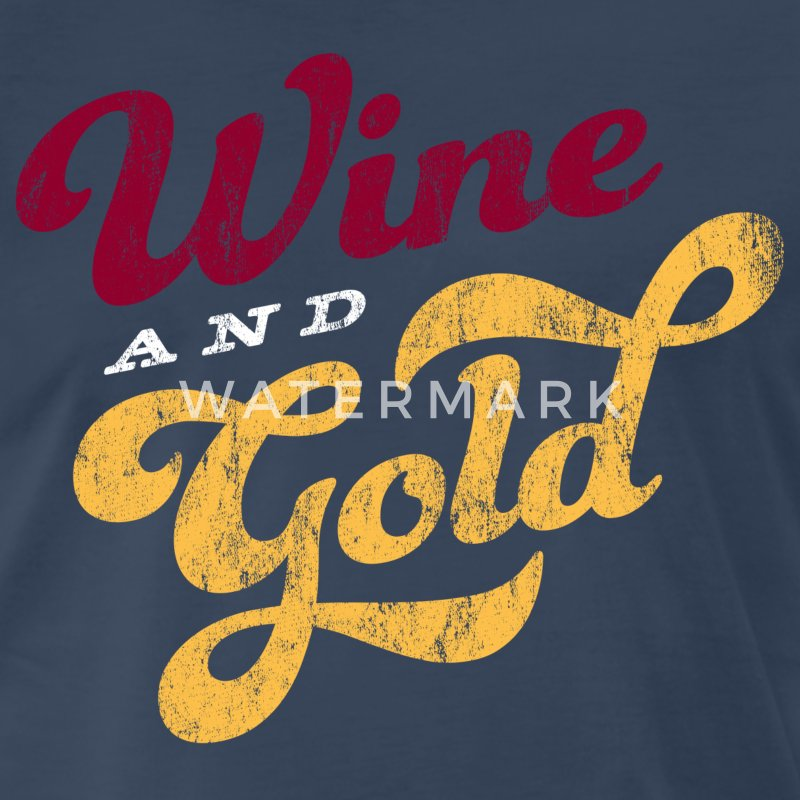 Wine And Gold Script Men's Cavs T-Shirt - Men's Premium T-Shirt