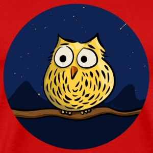 Owl on branch at night T-Shirts - Men's Premium T-Shirt