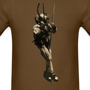 Vintage Diver with Mark V Diving Helmet on a Rope - Men's T-Shirt