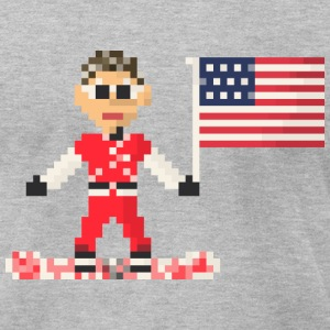 Man on snowboard american flag T-Shirts - Men's T-Shirt by American Apparel