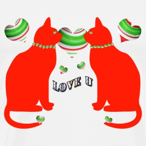 Red cats love u - Men's Premium T-Shirt