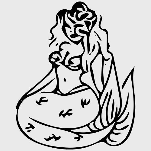 mermaid with flowing hair