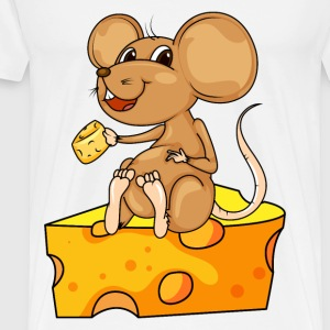 MOUSE EATING AND SITTING ON A CHEESE WEDGE - Men's Premium T-Shirt