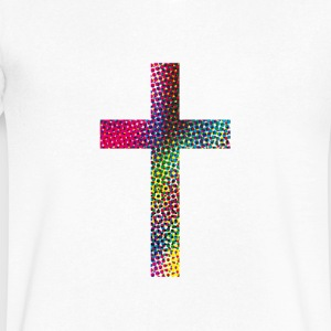 Colourful cross T-Shirts - Men's V-Neck T-Shirt by Canvas