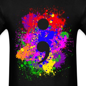 Paint Splatter Semicolon T-Shirts - Men's T-Shirt