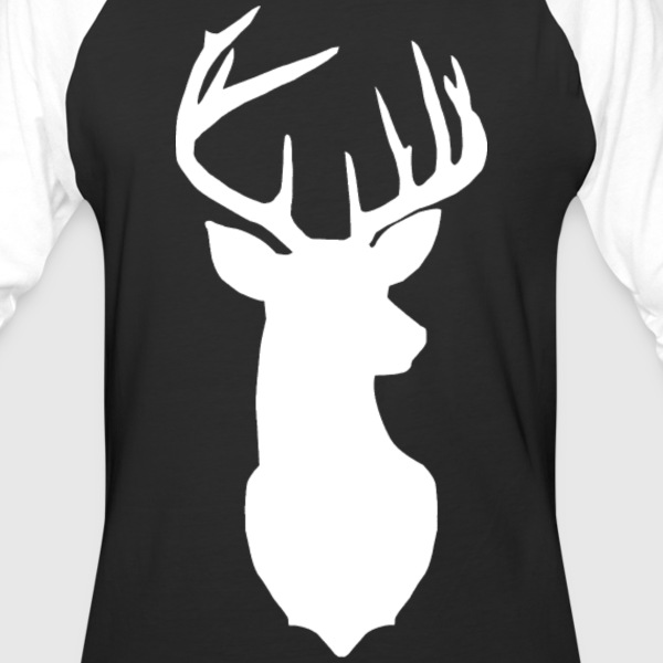 White Deer Head Baseball Tee - Baseball T-Shirt
