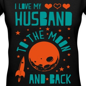 I Love My Husband Women's T-Shirts - Women's V-Neck T-Shirt