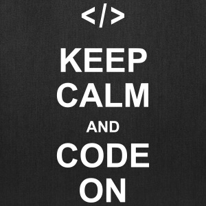 keep calm and code on programming nerd css html Bags & backpacks - Tote Bag