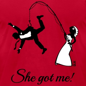 She Got Me! (Groom / Stag Party / Bachelor Party) T-Shirts - Men's T-Shirt by American Apparel