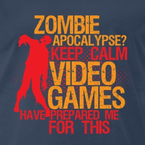 Funny Gamer Geek Tshirt Keep Calm Zombie Apocalype - Men's Premium T-Shirt