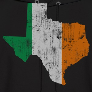 Texas Flag State Outline Irish Flag Hoodies - Men's Hoodie