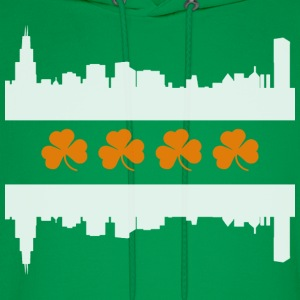 Irish Chicago Flag Skyline St Patricks Day Hoodies - Men's Hoodie