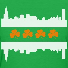 Irish Chicago Flag Skyline St Patricks Day Women's T-Shirts