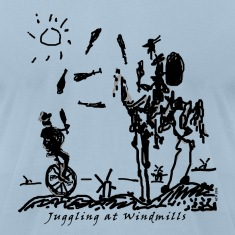 Juggling at Windmills on American Apparel shirt