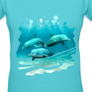 3 Dolphins - Women's V-Neck T-Shirt