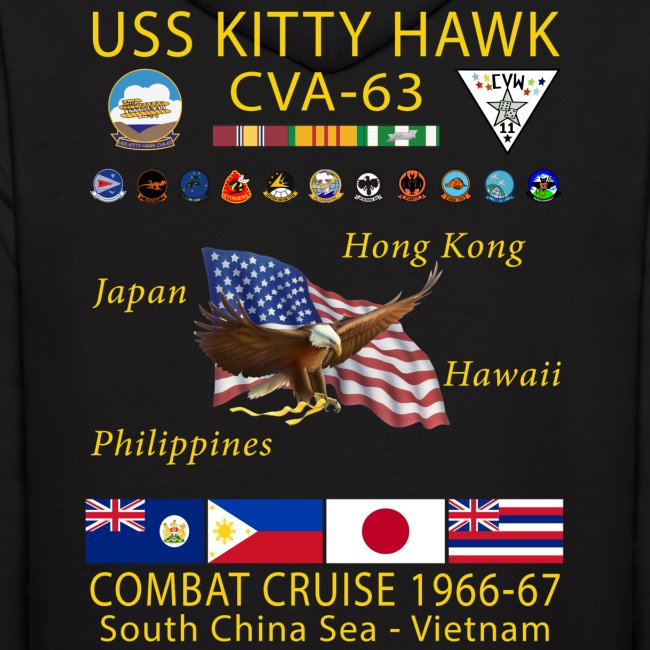USS KITTY HAWK CVA-63 COMBAT CRUISE 1966-67 HOODIE