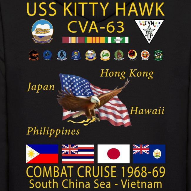 USS KITTY HAWK CVA-63 COMBAT CRUISE 1968-69 HOODIE