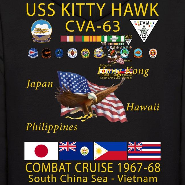USS KITTY HAWK CVA-63 COMBAT CRUISE 1967-68 HOODIE
