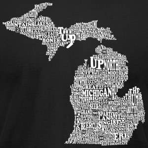 Michigan by Words Map T-Shirts - Men's T-Shirt by American Apparel