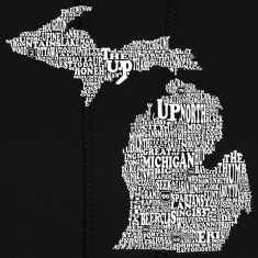 Michigan by Words Map Hoodies