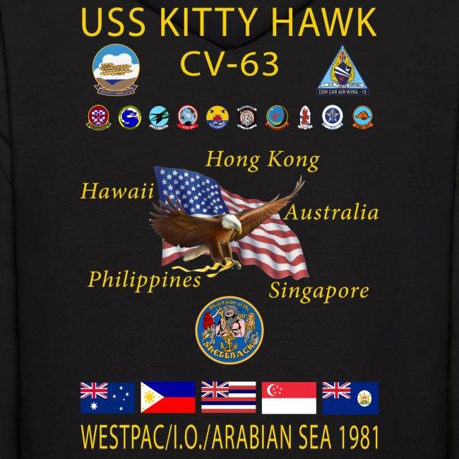 USS KITTY HAWK CV-63 WESTPAC/I.O./ ARABIAN SEA CRUISE 1981 HOODIE