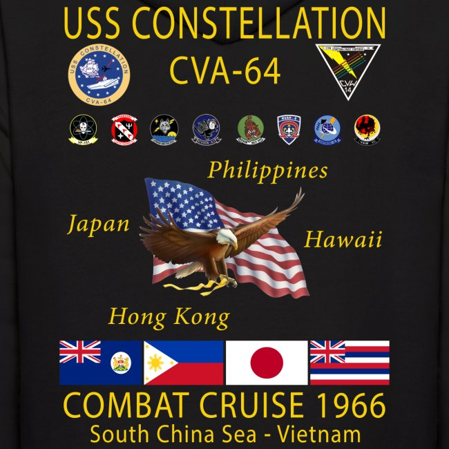 USS CONSTELLATION CVA-64 COMBAT CRUISE 1966 HOODIE