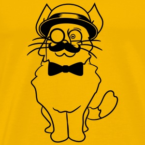 kitten sir mr mustache monocle glasses cylinder be T-Shirts - Men's Premium T-Shirt