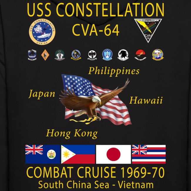 USS CONSTELLATION CVA-64 COMBAT CRUISE 1969-70 HOODIE