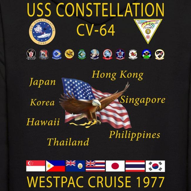 USS CONSTELLATION CV-64 WESTPAC CRUISE 1977 HOODIE