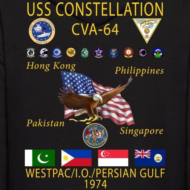 USS CONSTELLATION CVA-64 COMBAT CRUISE 1974 HOODIE