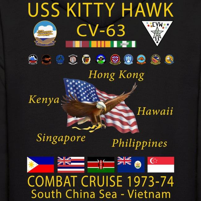 USS KITTY HAWK CV-63 COMBAT CRUISE 1973-74 HOODIE