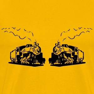 dampflok railroad locomotives romance T-Shirts - Men's Premium T-Shirt