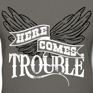 Here Comes Trouble b/w Women's T-Shirts - Women's V-Neck T-Shirt
