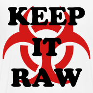 Design ~ Keep It Raw  Biohazard (On Back)  Men's Premium Tee