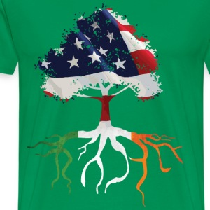 USA Irish Roots Flag Irish Celtic  - Men's Premium T-Shirt