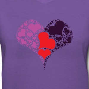 multicolored heart Women's T-Shirts - Women's V-Neck T-Shirt