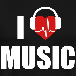 I love music dj HEADPHONE T-Shirts - Men's Premium T-Shirt