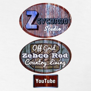 White Rustic Logo for YouTuber Zebco Rod & Zevcor - Men's T-Shirt