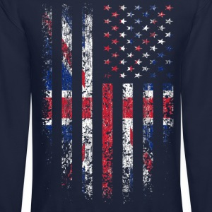 UK US Flag Grunge Long Sleeve Shirts - Crewneck Sweatshirt