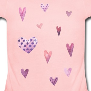 Watercolor Hearts Baby Bodysuits - Baby Short Sleeve One Piece