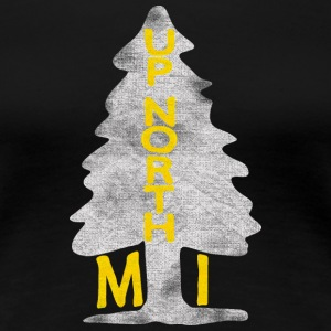 Vintage Up North Michigan Distressed Tree Women's T-Shirts - Women's Premium T-Shirt