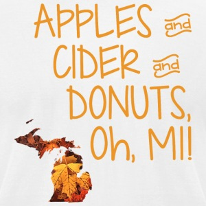 Apples Cider Donuts Oh Michigan Leaves T-Shirts - Men's T-Shirt by American Apparel