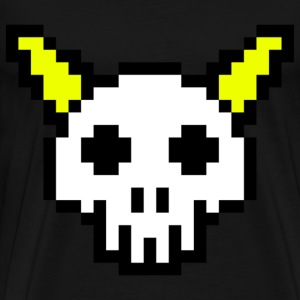 Eight Bit Horned Skull T-Shirts - Men's Premium T-Shirt