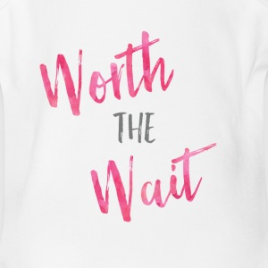 Worth the Wait Pink Watercolor   - Short Sleeve Baby Bodysuit